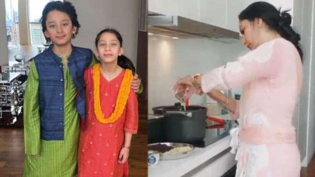 India Tv - Sanjay Dutt's wife Maanayata celebrates Eid with kids Shahraan and Iqra