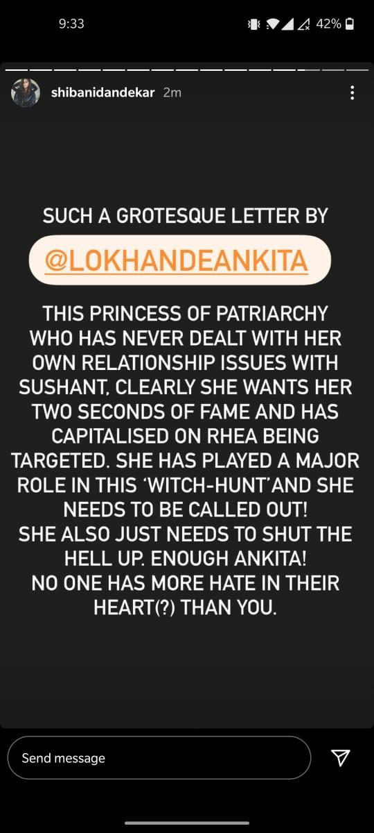 India Tv - Shibani Dandekar calls out Ankita Lokhande for her open letter