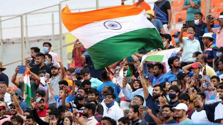 Fans at the Narendra Modi Stadium in Ahmedabad