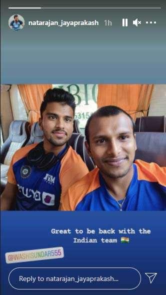 India Tv - T Natarajan's Instagram story