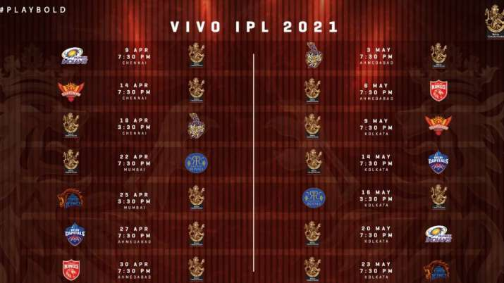 India Tv - IPL 2021 schedule of Royal Challengers Bangalore