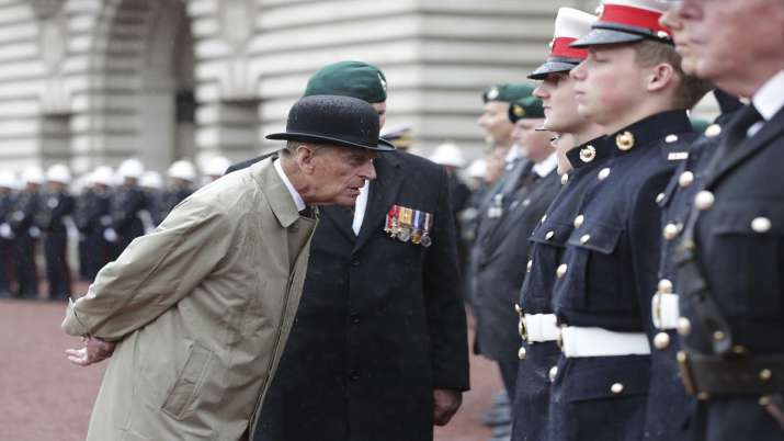 India Tv - In this Wednesday Aug. 2, 2017 file photo, Britain's Prince Philip, in his role as Captain General of the Royal Marines, talks to troops as he attends a Parade on the forecourt of Buckingham Palace, in central London.