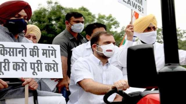 फ़ाइल |  कांग्रेस नेता राहुल गांधी ट्रैक्टर चलाते हैं