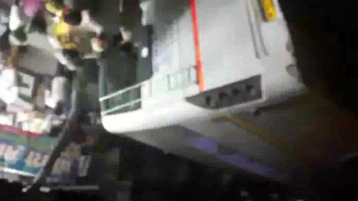 Bus falls from Ghaziabad flyover.
