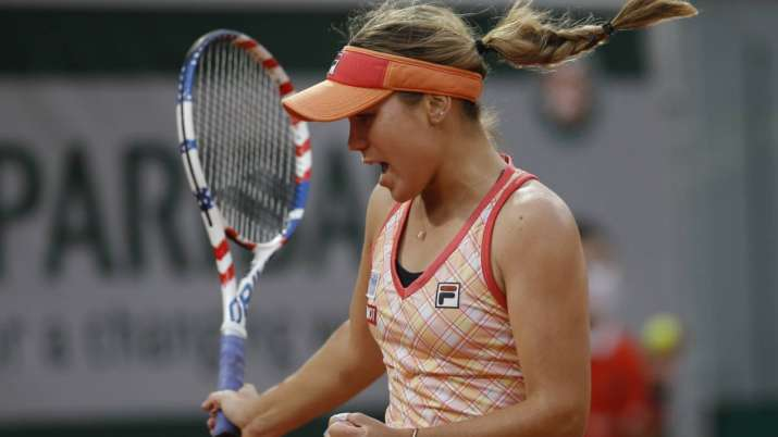 Sofia Kenin of the U.S. clenches her fist after scoring a