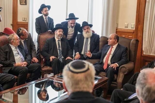 Manzur recibió en diciembre de 2019 al Gran Rabino de Israel, David Baruch Lau, en la Casa de Gobierno de Tucumán