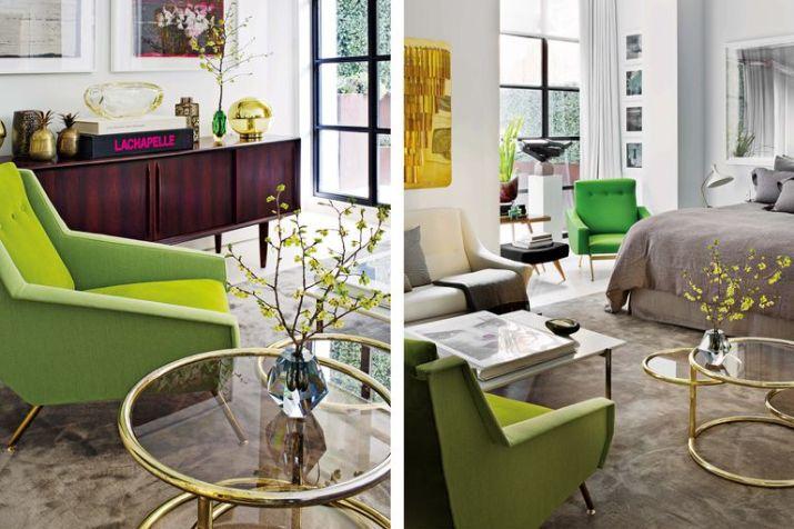Sillón tapizado en combinación de verdes estilo Gio Ponti y mesita americana. Más verde junto a la cama, con el sillón de Joseph André Motte escoltando una escultura de Dimitri Hadzi.