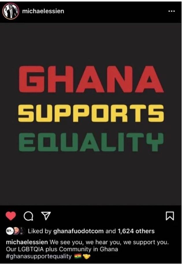 El exfutbolista de Ghana Michael Essien ha eliminado su publicación en las redes sociales que buscaba apoyar a la comunidad LGBT en Ghana después de haber sido severamente criticado por una sección de ghaneses.
