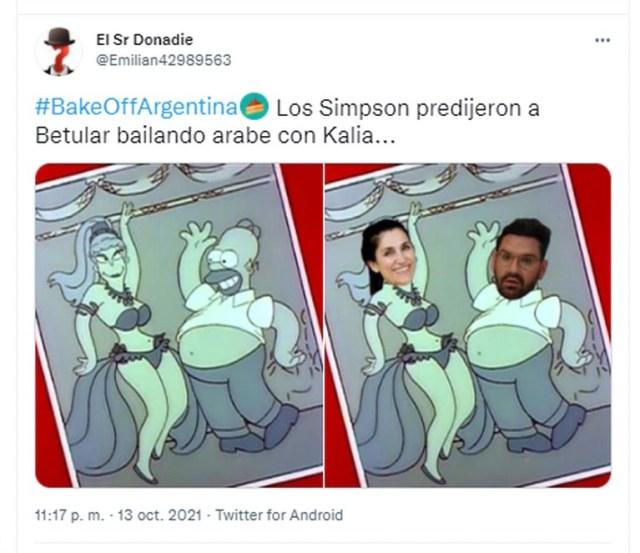 Un meme que comparó a Damián Betular y Kalia de Bake Off Argentina con Homero Simpson