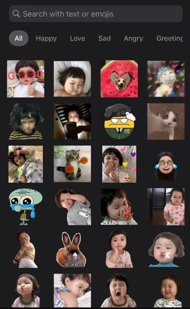 Algunos de los stickers de la niña que circulan en redes