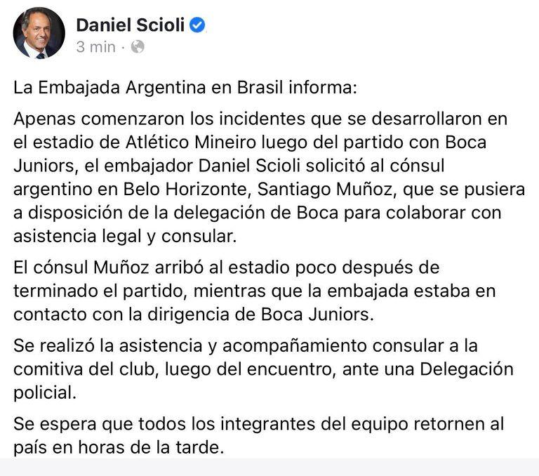 El mensaje de Daniel Scioli, que asistió a la delegación de Boca demorada en Brasil