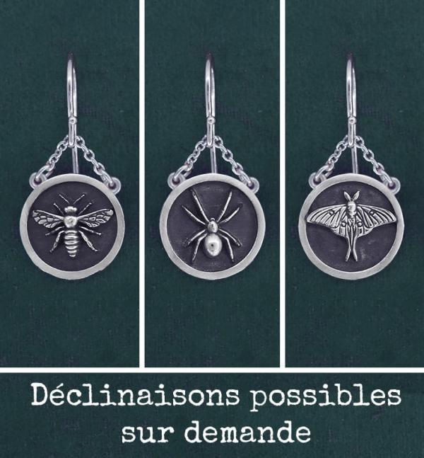 Boucles d'oreilles cadres carrés déclinaisons possibles; papillon, araignée & abeille en argent massif