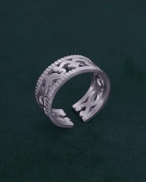 Ring or ring imagined in l'spirit of astronomical tools and d'arabesques in solid silver made in France side view | Res Mirum