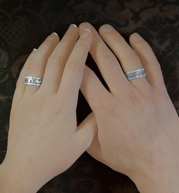 Anneaux ou bagues unisexe aux motifs d'arabesques repercés & de degrés façon objet astronomique en argent 925 fait main | Res Mirum