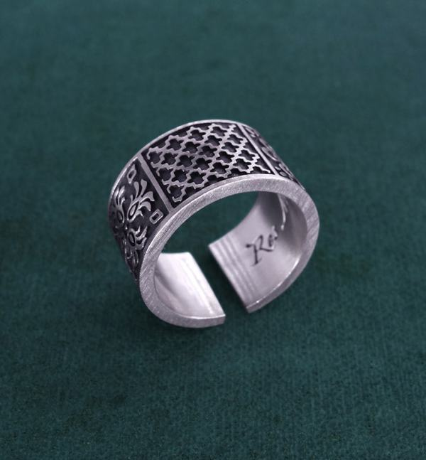 Ring or ring inspired by oriental zelliges and d'handcrafted 925 silver arabesques | Res Mirum