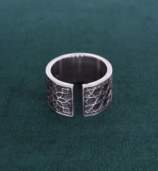 Ring or ring inspired by oriental zelliges and d'925 silver arabesques handmade back view | Res Mirum