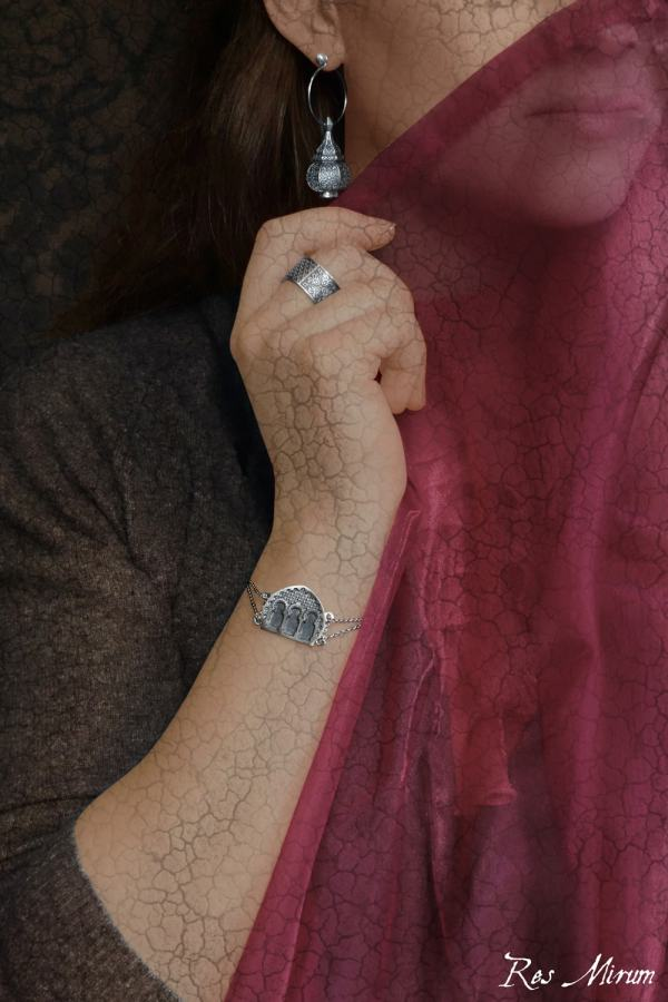 Boucles d'oreilles lanterne, anneau zellige & bracelet façade de palais inspirée de l'Orient et du Maghreb made in France   Res Mirum