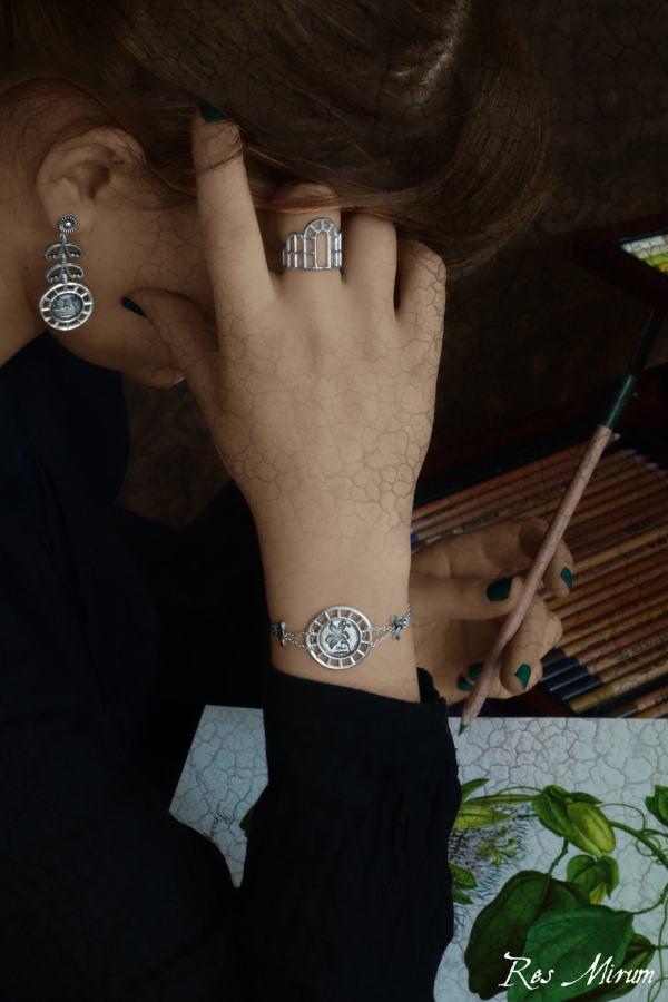 Bracelet rond lys, bague architecture d'orangerie & boucles d'oreilles belladone en argent massif de fabrication artisanale | Res Mirum