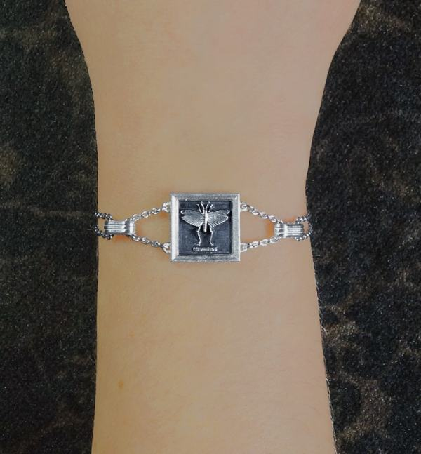 Square frame bracelet with a cricket or grasshopper represented in 925 Sterling Silver made in France worn | Res Mirum