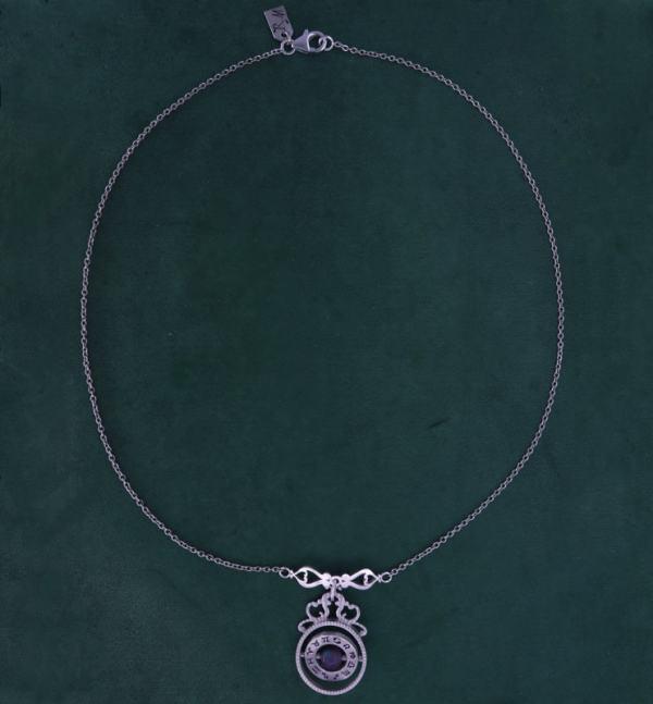 Collier sphère armillaire et arabesques avec axe tournant autour d'une perle de labradorite en argent massif made in France | Res Mirum