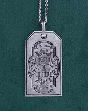 "Silver pendant plate engraved ""Onguent de Chimère"" spirit sorcery & alchemy made in France front view 