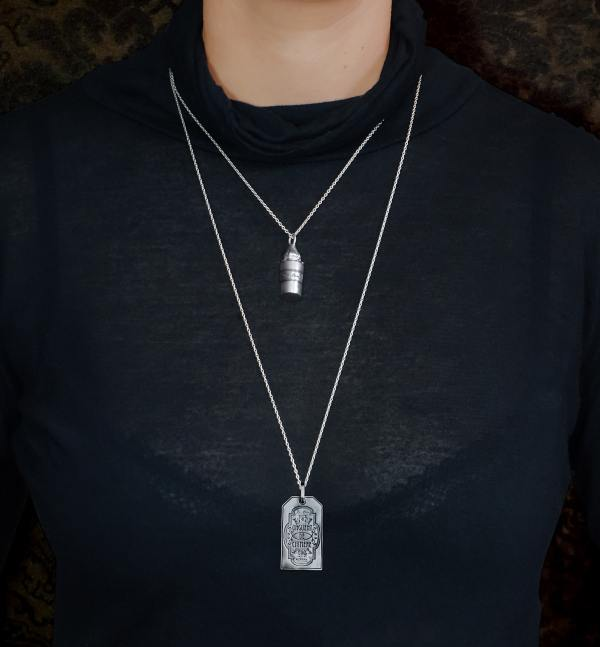 """Pendants small poison vial on short chain 45 cm & label plate engraving """"Chimera ointment"""" on silver chain necklace 70 cm 