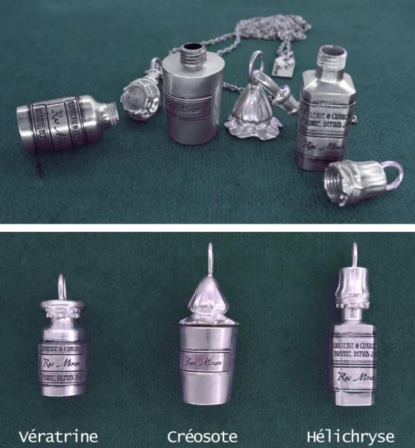 Pendants vials d'antique apothecary, open and closed, three models in sterling silver | Res Mirum