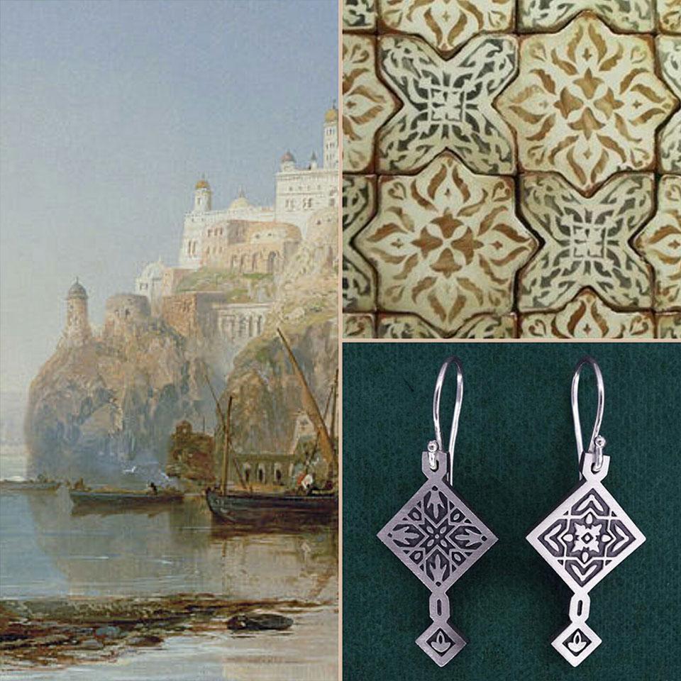 Ambiance des boucles d'oreilles orientales, style byzantin & zelliges