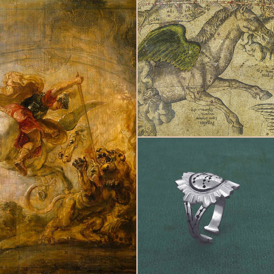 Atmosphere of the Pegasus ring, imagined around the constellations and the stars of l'ancient astronomy