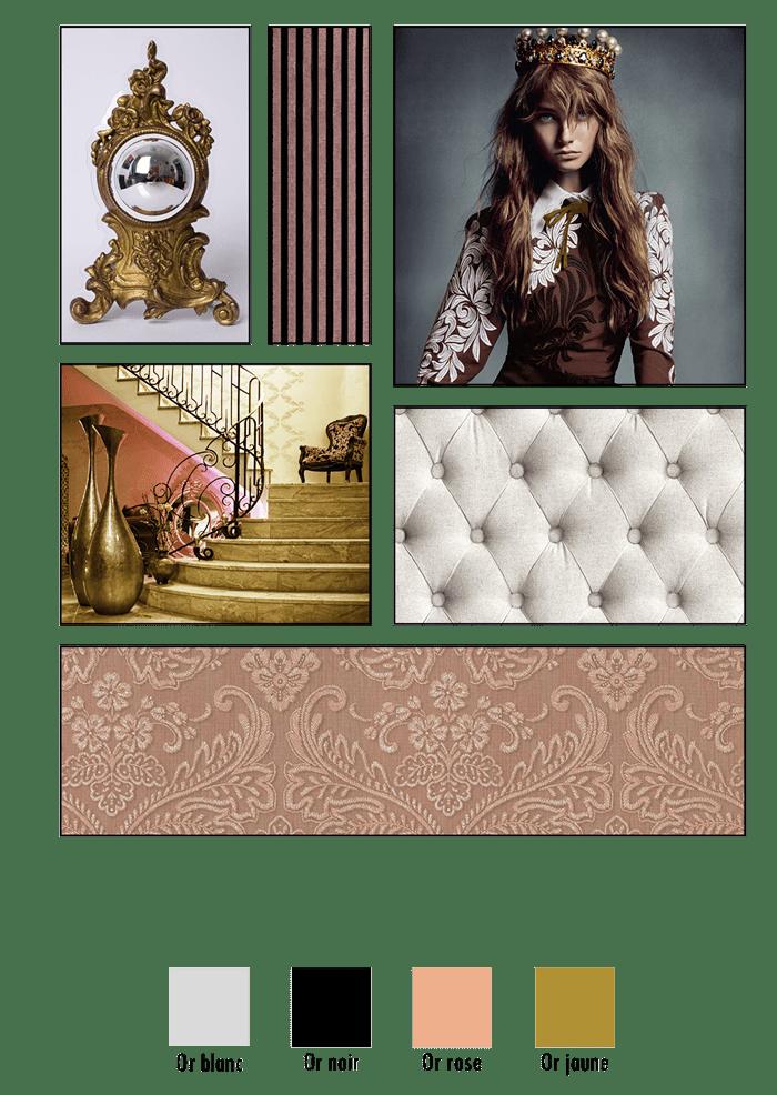 Planche d'ambiance de la ligne Boudoir inspirée de l'univers élégant & feutré de Marie-Antoinette & des brocard des alcôves secrètes