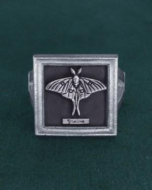 Bague carrée avec papillon Graellsia dans petit cadre entomologique en argent 925 fait main vue face   Res Mirum
