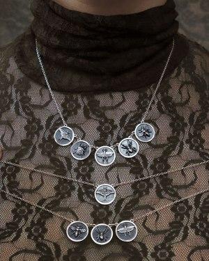 mini collier Insecta, 3 modèles avec 1, 3 ou 5 cadres ronds