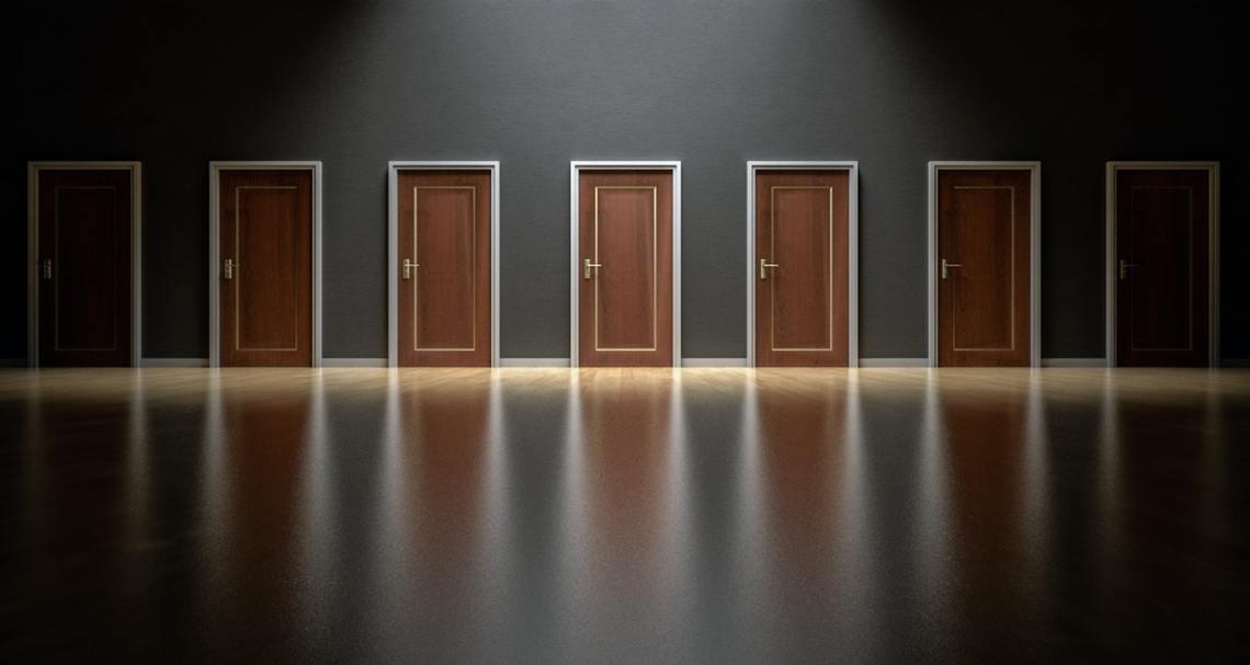 Row of doors facing the viewer