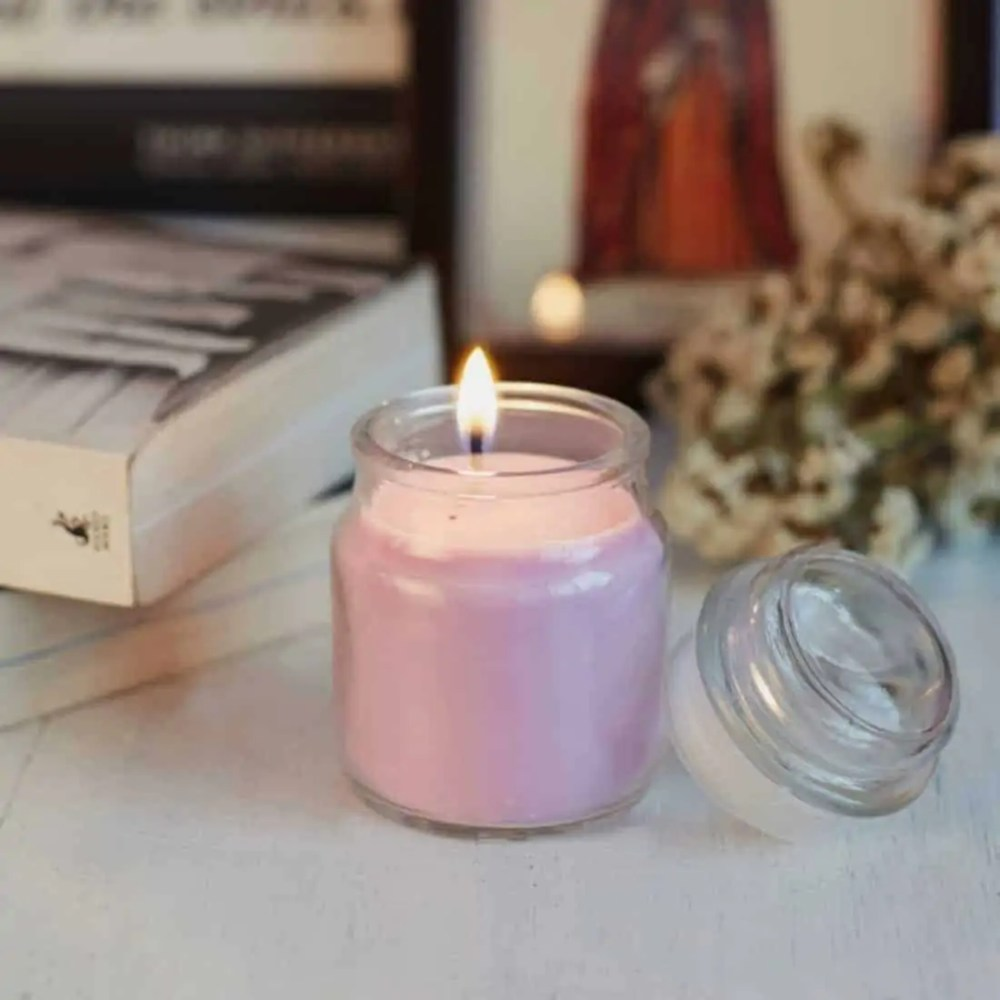 Lavender Natural Wax Glass Top Jar Candle