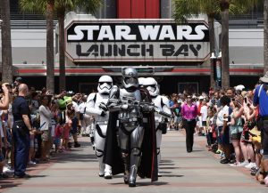 At various times each day, the menacing Captain Phasma leads a squad of First Order stormtroopers as they march in formation from Star Wars Launch Bay to the Center Stage area at Disney's Hollywood Studios in an intimidating demonstration of the First OrderÕs indomitable strength. (Todd Anderson, photographer)