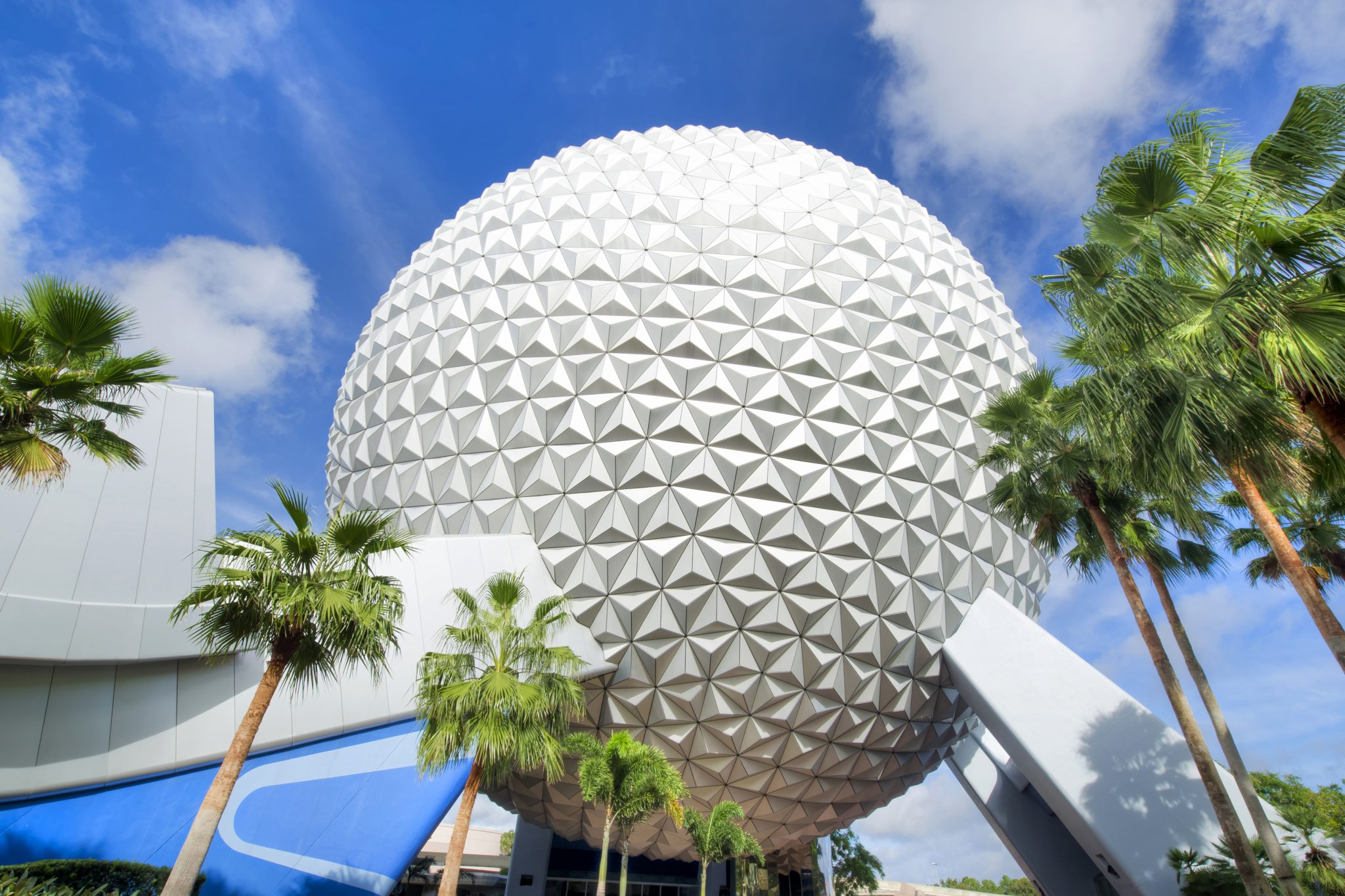 "Spaceship Earth is the visual and thematic centerpiece of Epcot at Walt Disney World Resort in Lake Buena Vista, Fla. The geodesic dome weighs 16 million pounds and the outer ""skin"" of Spaceship Earth is made up of 11,324 aluminum and plastic-alloy triangles. The attraction inside Spaceship Earth presented by Siemens includes a time-travel adventure through the history of communication, showing how the spirit of innovation has moved people from the caves to the cosmos. (Gene Duncan, photographer)"