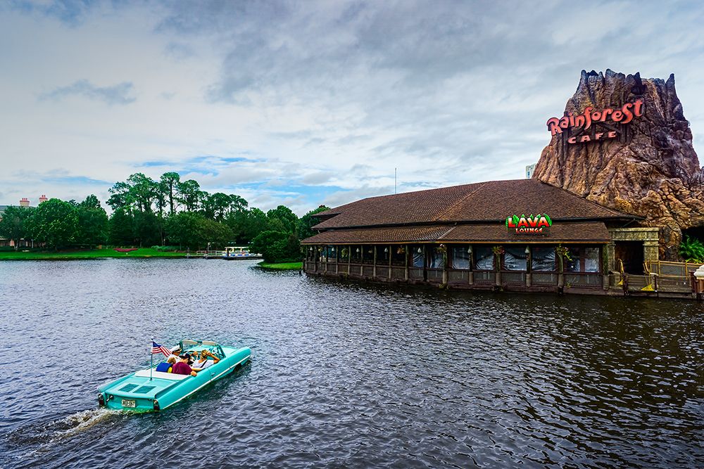 a car boat at Disney Springs