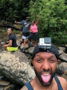 Crazy faces shot at a Hana waterfall in Maui