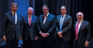 "Participants in the ""The View from the C-Suite"" session, during the 18th Annual Shared Ownership Investment Conference in Miami Beach, Florida. Pictured left to right:  Roy Peires, founder and chairman, CLC World Resorts & Hotels; Stephen Weisz, president and CEO, Marriott Vacations Worldwide Corp.; Peter Yesawich, vice chairman, emeritus, MMGY Global; Craig Nash, chairman, president, and CEO of ILG; and Howard Nusbaum, president and CEO, American Resort Development Association."