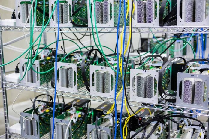 Bitcoin miners on shelves.