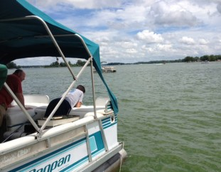 Sitting at the end of our dock (at Buckeye Lake)