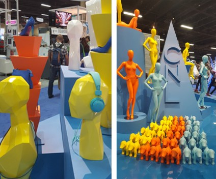 While CNL Mannequins chose the bold route with brightly colored contemporary mannequins and busts. Their booth won best overall booth at the event because of its eye catching intensity. www.cnlmannequins.com