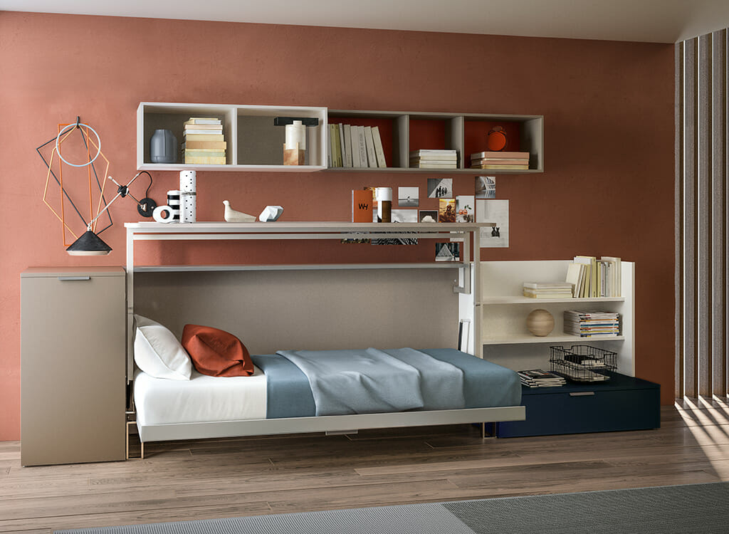 Single Wall Bed With Desk Cabrio Resource Furniture Resource Furniture