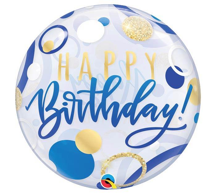 22 Pkg Birthday Blue Gold Dots Bubble