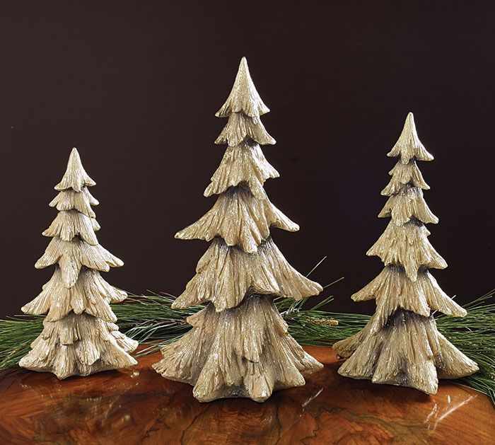 NATURAL RESIN CHRISTMAS TREE SET