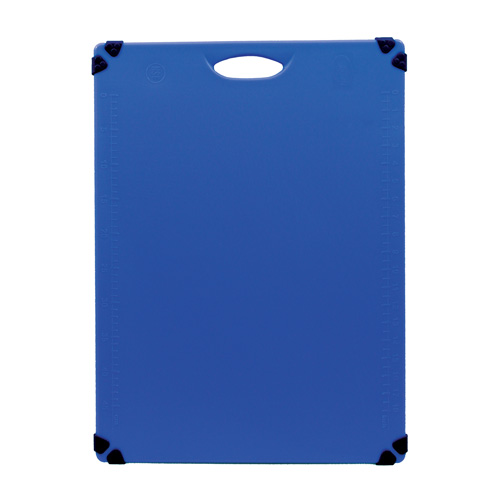 Blue, color-coded cutting board for cooked food