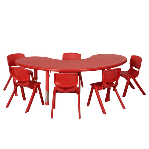 red horseshoe classroom table