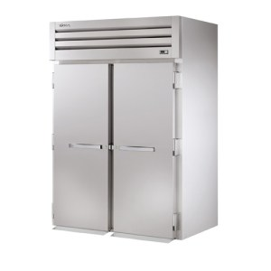 Reach-in refrigerator with top-mounted compressor