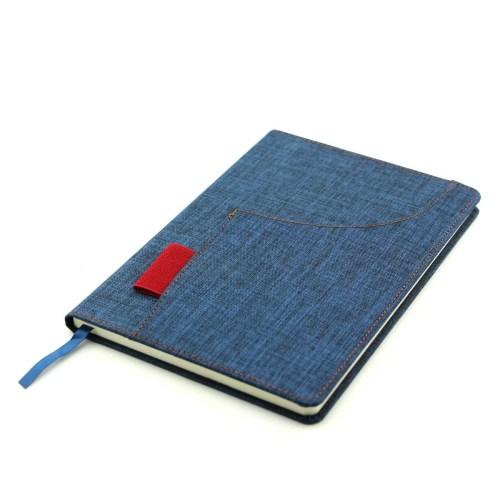 Cuaderno de tela azul