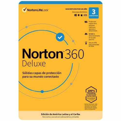 Antivirus Norton 360 Deluxe 3 dispositivos 1 año 2021